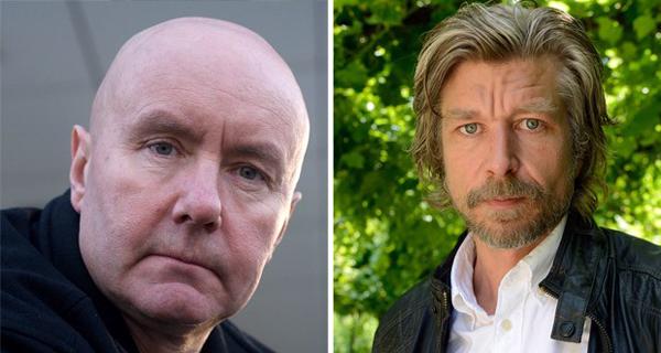 Escritor escocês Irvine Welsh (esquerda) e o escritor norueguês Karl Ove Knausgard (Foto: Ulf Andersen/Aurimages/AFP)